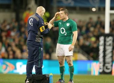Brian O'Driscoll having treatment during the recent November Internationals.