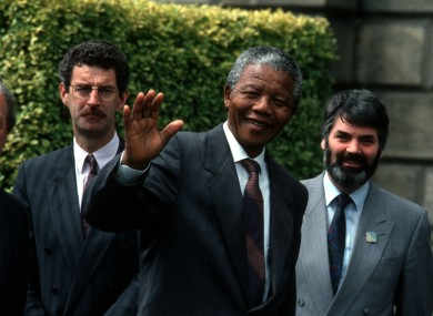Nelson Mandela, Taoiseach Charles Haughey, Labour leader Dick Spring with Proinsias De Rossa in 1990.