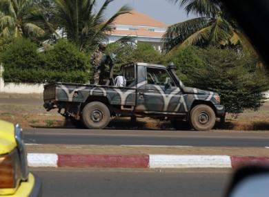 A Malian military vehicle guards the house of coup leader General Amadou Haya Sanogo in Bamako, Mali.