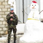 Cpl Paddy Hodgins and snow pal with the 42 Infantry Gropu UNIFIL in Lebanon:
