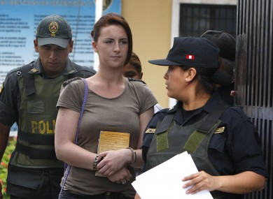 Michaella McCollum arrives for the court hearing in Lima today