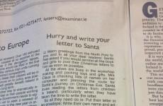 Santa's head elf sends letter to Irish kids