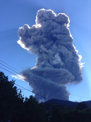 The Chaparrastique volcano shoots a a cloud of gas and ash 5km into the air