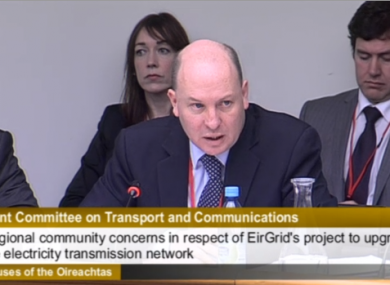 Eirgrid CEO Fintan Slye speaking to the committee today.