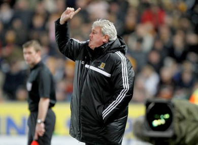Hull City manager Steve Bruce during the Barclays Premier League match at The KC Stadium.