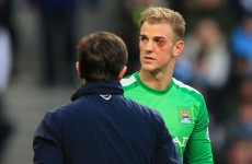 Snapshot: Joe Hart's eye was in a bad way after a clash with Cameron Jerome