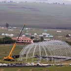 The dome-shaped funeral service marquee in Qunu being built earlier this week.<span class=