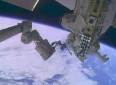 Spacewalk taking place at the moment.