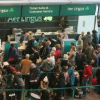 A general view of the Aer Lingus customer service area in Terminal 2 in Dublin Airport today.<span class=