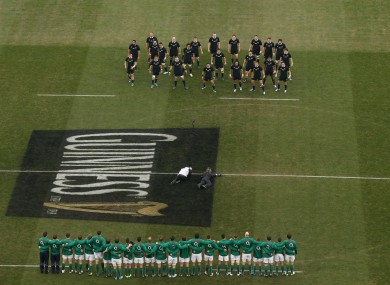 Ireland's rugby stars face the haka in November.