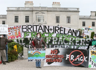 Anti-fracking protesters from Leitrim and Roscommon pictured at the Oil and Gas summit last year.
