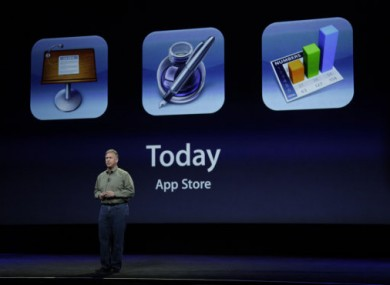 Apple Phil Schiller talks about new App store during an Apple announcement in San Francisco.