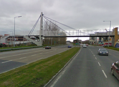 The pedestrian bridge at the N81 where the attack is believed to have happened.