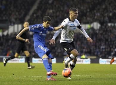 Oscar scores Chelsea's second against Derby.
