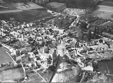 A 1953 aerial view of the destroyed Oradour-sur-Glane.