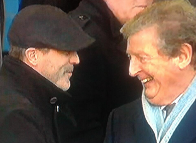 Roy Keane and Roy Hodgson catch up at Goodison Park.
