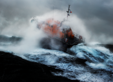 The Kilmore Quay lifeboat in heavy swells off the south-east coast