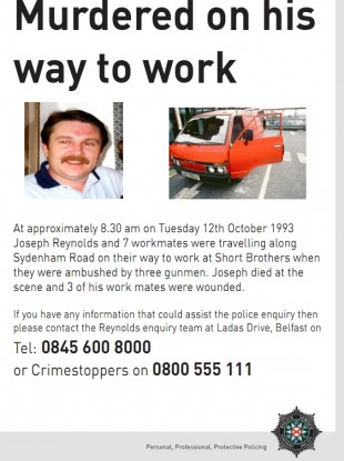 The leaflet released by the PSNI last October appealing for information.