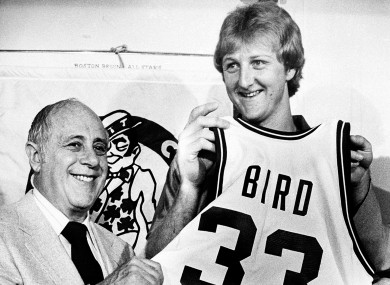 Baller: Larry Bird, with Celtics president Red Auerbach, signs on with Boston in 1979.