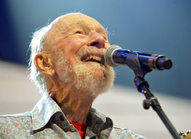 Pete Seeger performing on stage in New York in September 2013