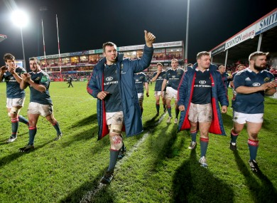 O'Mahony leads the Munster players in applauding their fans last weekend.