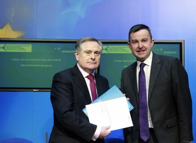 Brendan Howlin and Brian Hayes launching the government's reform plans today