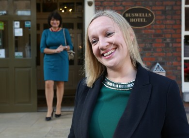 Lucinda Creighton with fellow RA member Fidelma Healy-Eames in the background.