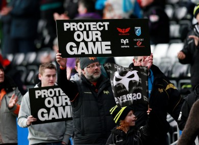 Ospreys fans show their support for the Welsh regions during last week's Heineken Cup game against Northampton.