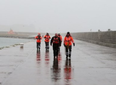 Members of the Irish Coastguard on the East Pier in Howth, Dublin, during a search for a jogger which turned out to be a false alarm.