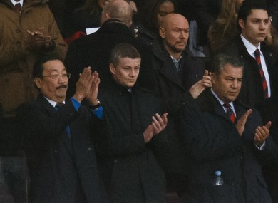 Cardiff City's owner Vincent Tan alongside Ole Gunnar Solskjaer.