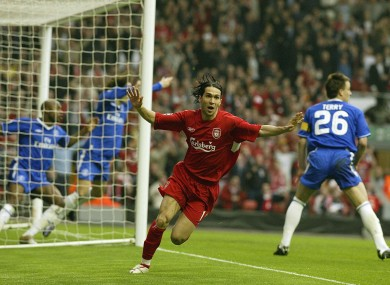 Luis Garcia celebrates his 2005 Champions League semi-final goal.
