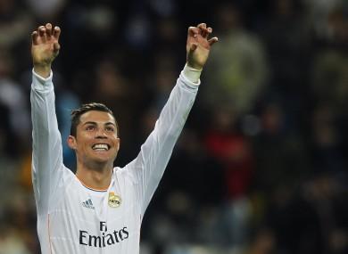 Ronaldo celebrates one of his goals tonight.