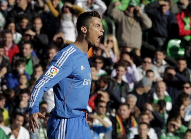 Real Madrid's Cristiano Ronaldo reacts after scoring against Betis.