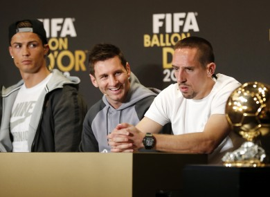 Ribery alongside Leo Messi and Cristano Ronaldo last week.