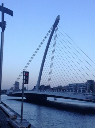 The Samuel Beckett Bridge. Closed to traffic earlier (but open to shipping).