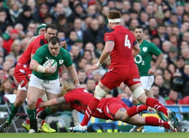 Richard Hibbard goes in low on Ireland's Cian Healy.