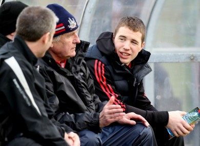 Cork's Colm O'Neill sits on the bench at Páirc Uí Rinn last week.