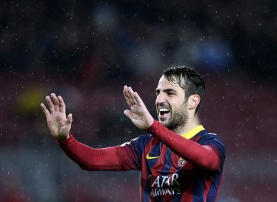 Barcelona's Cesc Fabregas reacts after scoring against Elche last week.