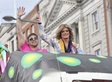 Panti (right) at the Dublin Pride Parade in 2010.