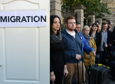 Moira Murphy from the 'We're Not Leaving' campaign pictured at the front of the Emigration queue today outside Leinster House