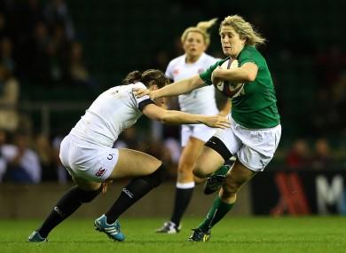 England's Emily Scarratt tackles Alison Miller of Ireland.