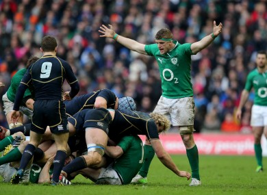 Jamie Heaslip calls for a penalty in Murrayfield last year.
