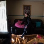Siobhan Ryan, assesses the damage at her home.<span class=