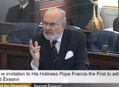 Senator David Norris speaking today in the Seanad.