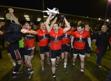 UCC captain Paul Geaney celebrates with teammates.