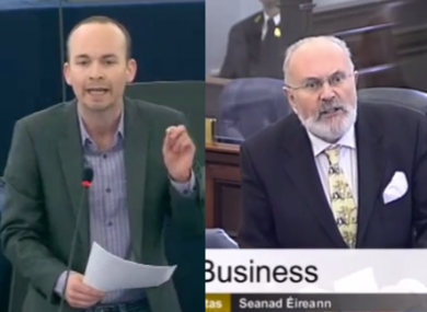 MEP Paul Murphy in EU parliament yesterday; Senator David Norris in Seanad today.
