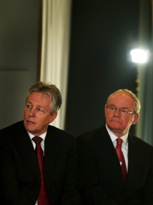 Peter Robinson with Deputy First Minister Martin McGuinness of Sinn Féin