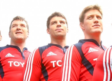 Anthony Foley, Denis Leamy and Ronan O'Gara pose for a new jersey launch in 2007.