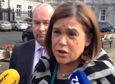 Mary Lou McDonald speaking to reporters today