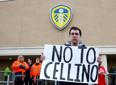 A Leeds United fan with a 'No to Cellino' banner today.